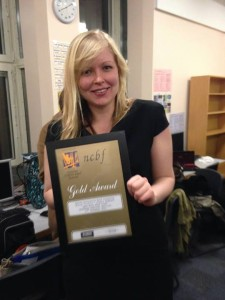 Jess Eastwood, OUWO Manager, with the Gold Award